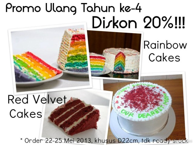 Diskon Ulang Tahun 20% buat Rainbow Cake & Red Velvet Cake