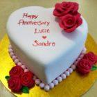 Heart-shaped Anniversary Cake